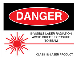 "Class IIIb Logotype Label 2"" x 2 1/2""..""Invisible Laser Radiation"""