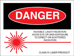 "Class IV Logotype Label 2"" x 2 1/2""..""Invisible Laser Radiation"""