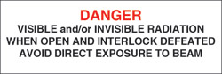 "Class IIIb Defeatably Interlocked Protective Housing Label (Visible and/or Invisible Laser Radiation) 3/4"" x 3"""