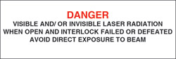 "Class IIIb Optionally Interlocked Protective Housing Label ( Visible and/or Invisible Laser Radiation) 1"" x 3"""