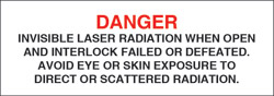"Class IV Optionally Interlocked Protective Housing Label (Invisible Laser Radiation)..1"" x 3"""