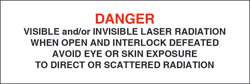 "Class IV Defeatably Interlocked Protective Housing Label (Visible and/or Invisible Laser Radiation) 1"" x 3"""