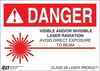 Paper Class 3B Danger Sign-Visible and/or Invisible Laser Radiation