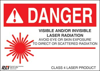 Paper Class 4 Danger Sign-Visible and/or Invisible Laser