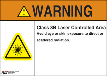 Plastic Class 3B Laser Warning Sign